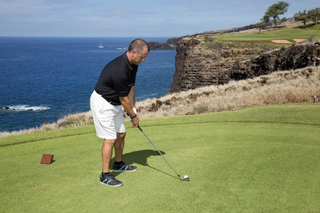 Scott on the 12th tee box of the Manele Golf Course on Lanai