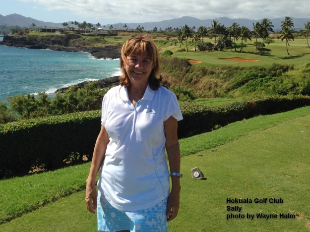 Sally on the 14th hole of the Hokuala Golf Club on Kauai.