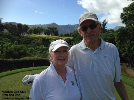 Fran and Ron on the 5th tee at the Hokuala Golf Club on Kauai.