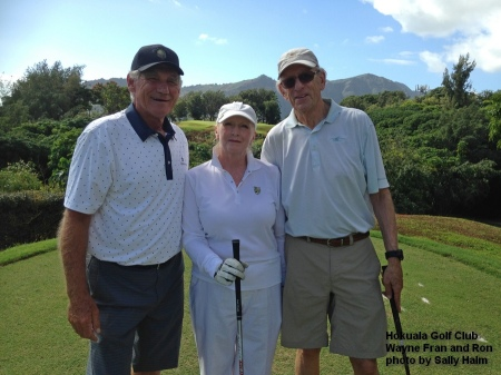 Wayne, Fran, and Ron on the 5th tee at the Hokuala Golf Club on Kauai.