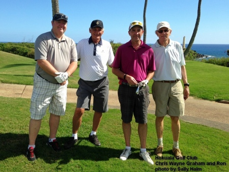Chris, Wayne, Graham, and Ron on the 14th tee at the Hokuala Golf Club on Kauai.