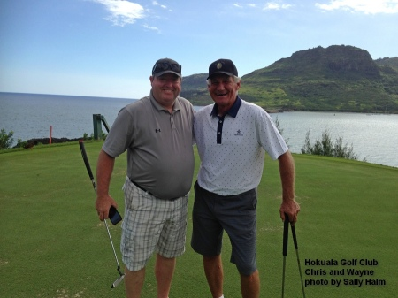 Chris and Wayne on the 16th green at the Holuala Golf Club on Kauai.