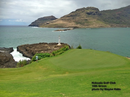 The 16th green at the Hokuala Golf Club on Kauai