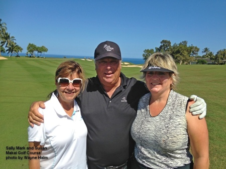 Sally, Mark, and Susan on the Makai Golf Course on Kauai.