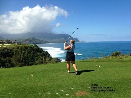 Susan on the 7th tee at the Makai Golf Course on Kauai.