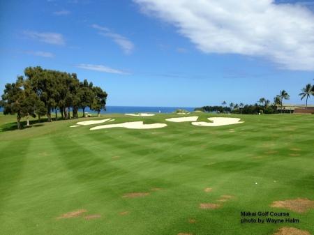 Bunkers on 12th hole of the Makai Golf Course on Kauai.