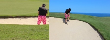 2016-02-28--#05--Golf at Makai Course - Wayne in bunkers.