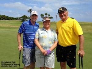Neal, Laura, and Wayne on the 10th green at the Hokuala Golf Club on Kauai