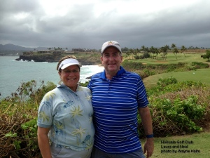 Laura and Neal on the 14th tee at the Hokuala Golf Club on Kauai