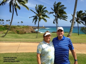 Laura and Neal on the 15th tee at the Hokuala Golf Club on Kauai