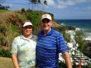 Laura and Neal on the 16th green at the Hokuala Golf Club on Kauai