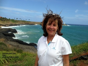 Sally in the breeze on the Hokuala Golf Course on Kauai