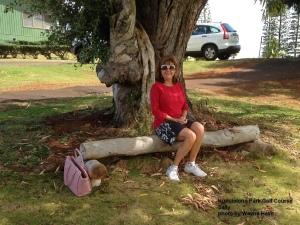 Sally on the Kukuiolono Park Golf Course on Kauai