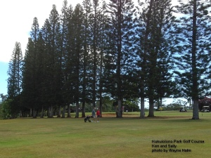 Ken and Sally on the Kukuiolono Park Golf Course on Kauai.
