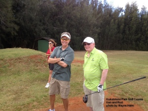Ken and Rod on the Kukuiolono Park Golf Course on Kauai.