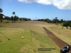 Wide fairway on the Kukuiolono Park Golf Course on Kauai