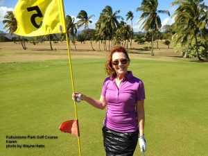 Karen on the Kukuiolono Park Golf Course on Kauai.