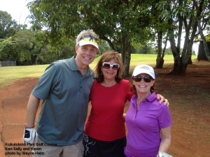 Ken Sally and Karen on the Kukuiolono Park Golf Course on Kauai.