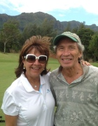 Sally and Palmer at the Puakea Golf Course on Kauai.