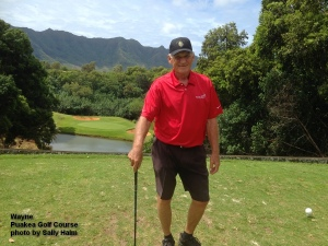 Wayne on the 6th tee at the Puakea Golf Course on Kauai.