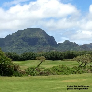 View of Mount Haupu from the Poipu Bay Golf Course on Kauai.