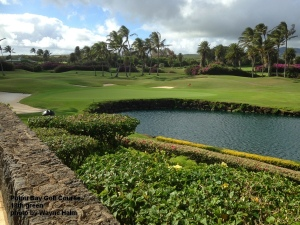 The 18th green on the Poipu Bay Golf Course on Kauai.