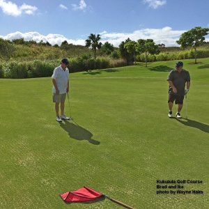 We briefly considered just getting on the green, adding two strokes, and moving on –but– we were having too much fun laughing at each other.