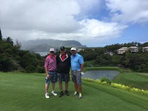 Mike Wayne and Ted on the 3rd tee at the Makai Golf Course on Kauai.