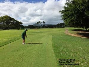 The 16th hole – the trees on the right block the Trade Winds from the tee box. But once the ball is up they push it sharply to the left – and into a lake.
