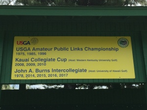 Tournament sign at the Wailua Golf Course on Kauai