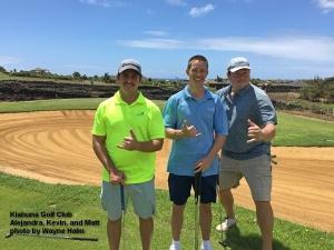 Alejandra, Kevin, and Matt on the Kiahuna Golf Club on Kauai