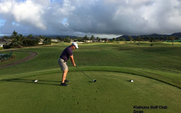 Dean on the 1st tee at the Kiahuna Golf Club on Kauai.