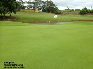 The 13th green at the Puakea Golf Course on Kauai.
