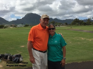 Wayne and Megan at the Puakea Golf Course on Kauai.