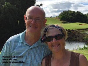 Gene and Jan on the Puakea Golf Course on Kauai.