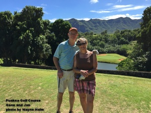 Gene and Jan on the 6th tee at the Puakea Golf Course on Kauai.