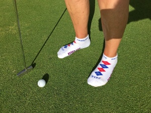 If you're golfing with me … and you have these cool Ryder Cup socks … you don't have to wear shoes on the greens.