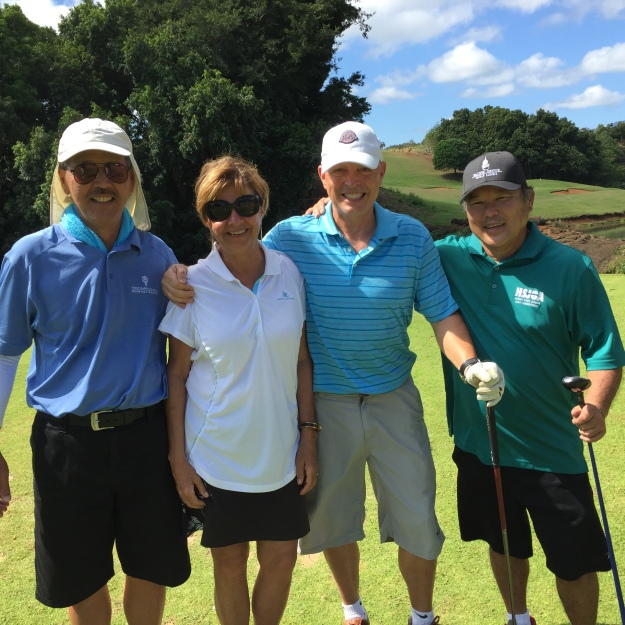 Milton, Sally, William, and Wendell on the Puakea Golf Course on Kauai.