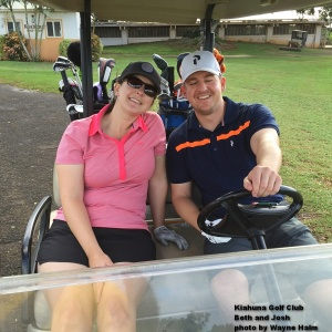 Beth and Josh … happy golfers.
