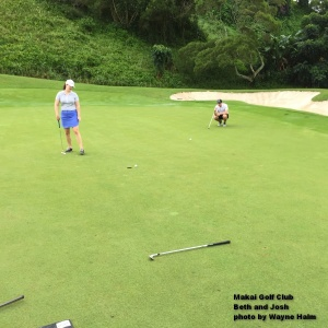 Beth and Josh on the third green at the Makai Golf Club on Kauai.