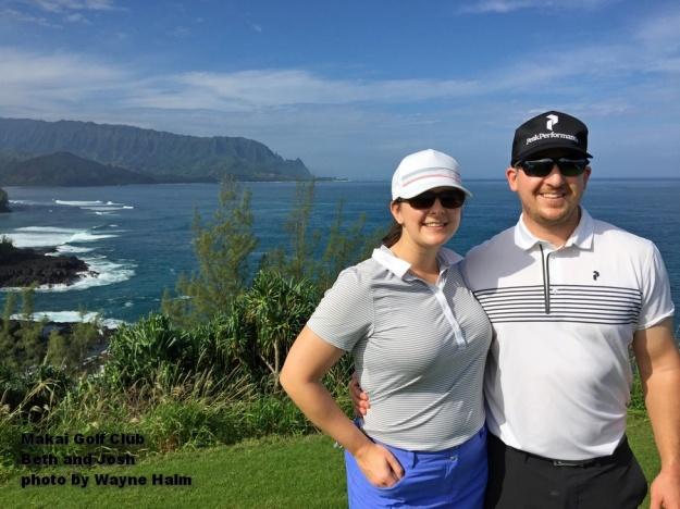 Beth and Josh on the Makai Golf Club on Kauai.
