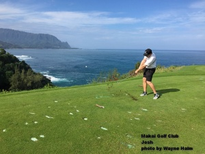Josh on the 7th tee at the Makai Golf Club on Kauai.
