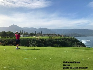 Wayne on the 7th tee at the Makai Golf Club on Kauai.