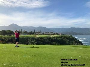 Wayne on the 7th tee at the Makai Golf Club on Kauai.