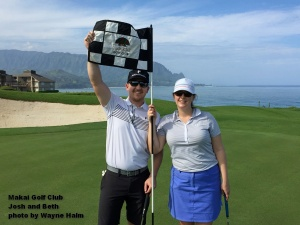 Josh and Beth on the 7th green at the Makai Golf Club on Kauai.
