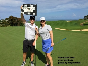 Josh and Beth on the Makai Golf Club on Kauai.