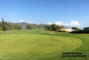 Wayne on the first green at the Wailua Golf Course on Kauai.
