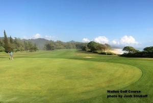 Wayne on the first green at the Wailua Golf Course on Kauai.