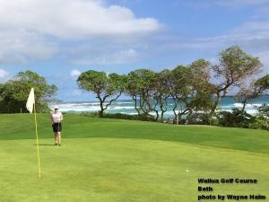 Beth on the Wailua Golf Course on Kauai.