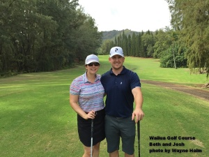 Beth and Josh on the Wailua Golf Course on Kauai.